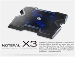 "chladiaci podstavec Coolermaster NotePal X3 pro NTB 12-17"" čierny, 20cm , modrý led ventilátor"
