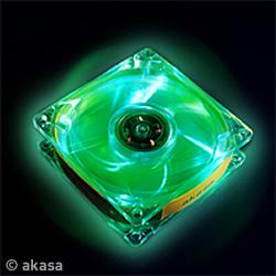 AKASA LED Case FUN - 8cm vetrák, crystal - zelený