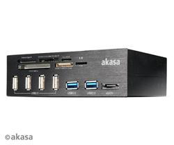 AKASA AK-HC-05U3BK InterConnect PRO, Hliníkový panel s USB (4xUSB2, 2xUSB3.0), USB 3.0 čtečka karet a eSATA