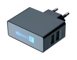 CONNECT IT nabíjecí adaptér POWER CHARGER 2x USB port 2.1 A/1 A černý