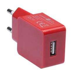 CONNECT IT COLORZ nabíjecí adaptér 1xUSB 1A, červený
