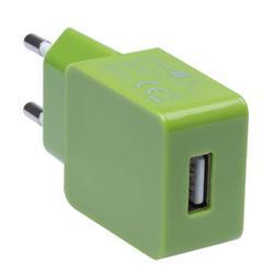 CONNECT IT COLORZ nabíjecí adaptér 1xUSB 1A, zelený