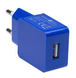 CONNECT IT COLORZ nabíjecí adaptér 1xUSB 1A, modrý