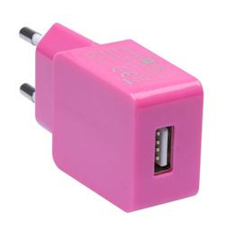 CONNECT IT COLORZ nabíjecí adaptér 1xUSB 1A, růžový