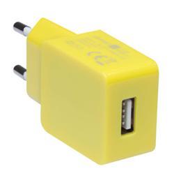 CONNECT IT COLORZ nabíjecí adaptér 1xUSB 1A, žlutý