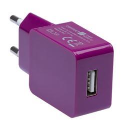 CONNECT IT COLORZ nabíjecí adaptér 1xUSB 1A, fialový