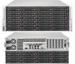 SUPERMICRO 4U SuperStorage server RAID 12Gb/s SAS/SATA 36xHS HDD (expand.24front+12rear), HW RAID LSI 3108, 2x1280W,IPMI