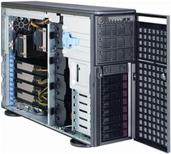 "SUPERMICRO Tower/4U 8x 3,5"" HS SAS/SATA, 4x power connectors (6pin+8pin) pro GPUs, 2x1400W (80PLUS Gold)"