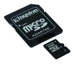 Kingston Micro SDHC karta 16GB Class 4 (rychlost 4MB/s) s adaptérem