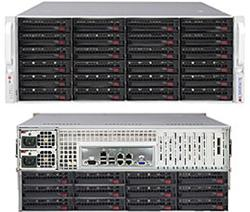 SUPERMICRO 4U SuperStorage server RAID 6Gb/s SAS/SATA 36xHS HDD (expand.24front+12rear), HW RAID LSI 2108, 2x1280W,IPMI