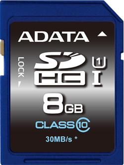 ADATA 8GB Secure Digital (SDHC) class 10/UHS-I Premier