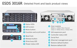 INFORTREND (ESDS 3016RT) High IOPS, 3U, 2x host board sloty, 2x6G SAS exp.,16xHDD bay, Dual Con., 2x2GB, BBU, 2x PWS