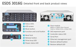 INFORTREND (ESDS 3016GT) High IOPS, 3U, 1x host board sloty, 1x6G SAS exp.,16xHDD bay, Single Controller, 1x2GB, 2x PWS