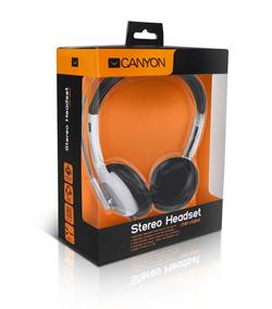CANYON sluchátka s mikr. HS11, 20Hz-20kHz, 105dB, kabel 2.4m, 3.5mm jack, bílá, ovl.hlasitosti nové balení včetně spojky