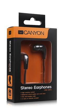 CANYON sluchátka pecky do uší s plochým nezamotatelným kabelem, černá